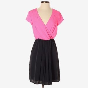 Hot Pink and Black V-neck Dress Size 10